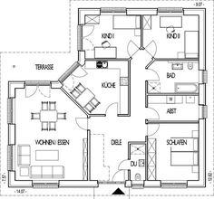 Angular bungalow floor plan with 128 05 m living Bungalow Floor Plans, House Floor Plans, Bedroom Layouts, House Layouts, 2 Bedroom House Plans, Corner House, American Houses, Basement Bedrooms, House Blueprints