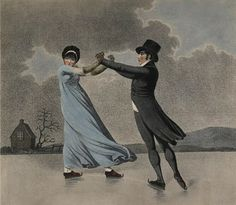 Skating Lovers, After Adam Buck. I've never actually seen any ice skating pictures from this time period. Jane Austen, Regency Dress, Regency Era, Skating Pictures, Skate Art, Historical Costume, Ice Skating, Figure Skating, British Museum