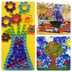 The Goddard School located in Hudson, OH made bottle cap art for window décor and an ocean scene out of upcycled boxes!