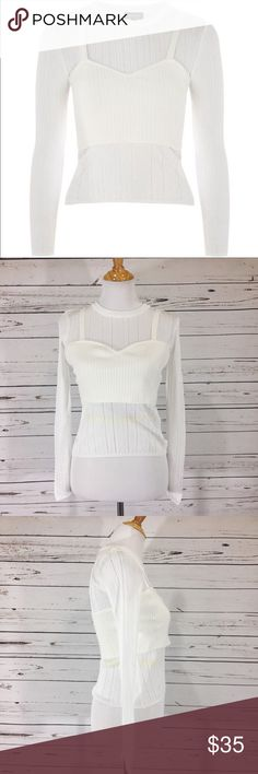 """{TOPSHOP} NWT Pointelle Sweater With Bustier Gorgeous  pointelle sweater with attached knit bustier .  White sweater with cream bustier .  NWT.  All measurements taken flat .  Size 8 measures shoulder to hem 19"""", armpit to armpit 14.5"""", waist 12.5"""".  P-55 Topshop Sweaters"""