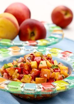 Grilled Peach and Chipotle Salsa | aspicyperspective.com #peaches #salsa