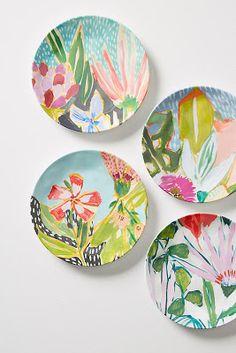 Slide View: Jardiniere Melamine Set of Canape Plates Painted Plates, Ceramic Plates, Plates On Wall, Ceramic Pottery, Decorative Plates, Bbq Plates, Pottery Painting, Ceramic Painting, Ceramic Art