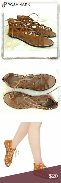 Ansel flat sandals. Laced up strappy caged casual chic sandals. This versatile shoe will go with lots of outfits. Lace up will help with fit. Back zip clouser.  Details: fit TTS, faux suede might stretch a bit, the color shown in the stock picture is too light, it's darker cognac color.  Please use only ✔OFFER  button for all price negotiations. I'll do a price drop⤵ for you for discounted shipping, if we agree about the price. Shoe Dazzle Shoes Sandals