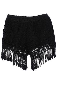 ROMWE | ROMWE Tasseled Black Lace Shorts,www.romwe.com