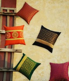Buy Brocade Bloom by Kale Neele Banaras Brocade Silk Cushion Covers and Table Runners Online at Jaypore.com