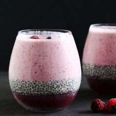Layered Berry Smoothie Chia Pudding. A refreshing breakfast, snack or dessert. Vegan and gluten-free.