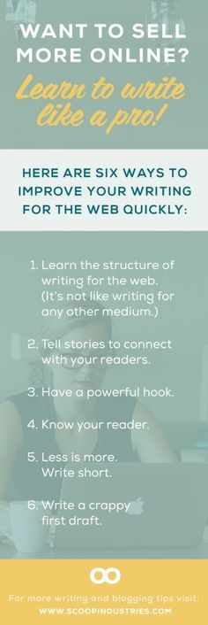 *Web Copy Resource* Pin these six web copy tips and enhance your writing skill set as your small business grows.: