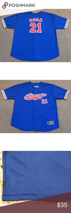 a21658a4e96 Sammy Sosa Chicago Cubs Baseball Jersey Mens XL Vintage Sammy Sosa Chicago  Cubs  21 Stitched