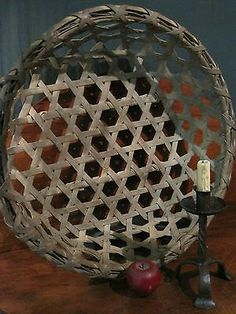 Antique 1800's N E Shaker Massive Community Black Ash Woven Cheese Basket
