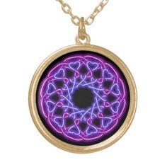 neon knotwork hearts necklace