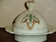 Northwood Victorian Custard Glass Maple Leaf Covered Butter Dish | eBay