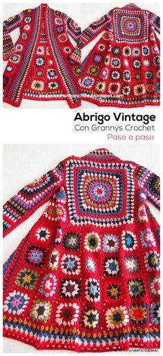 15 Crochet Granny Square Jacket Cardigan Free Patterns Crochet 3 square woman free knit sweater pattern - Woman Knitwear and Sweaters Cardigan Au Crochet, Crochet Coat, Sweater Knitting Patterns, Crochet Shawl, Cardigan Pattern, Crochet Sweaters, Jumpsuit Pattern, Crochet Flower, Granny Square Sweater