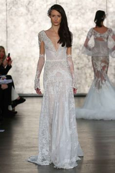 Style 1613 long-sleeved gown by Inbal Dror   NY Bridal Week. Photo: Courtesy of Inbal Dror.  Read More: http://www.insideweddings.com/news/fashion/inside-the-inbal-dror-fallwinter-2016-collection/2505/