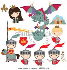 Medieval dragon, knight and princess illustration
