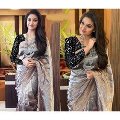 Grey pure khadi tissue silk partywear saree with net sequence blouse Patiala, Churidar, Anarkali, Salwar Kameez, Saree Designs Party Wear, Party Wear Sarees, Grey Saree, Black Lehenga, Wedding Saree Collection