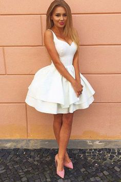ccda63c3ab095 Custom Made Absorbing Prom Dresses White Cute A-Line Lace Up Back White  Satin Short Homecoming Dress,Graduation Dresses