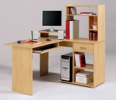 Office & Workspace, Comely Computer Desk Designs For Cool Home Office: Modern Small L Shaped Computer Desk Integrated With Fascinating Books. Home Office, Modern Office Desk, Home Desk, Office Workspace, Ikea Desk, Diy Desk, Office Depot, Computer Desk Design, Computer Desks