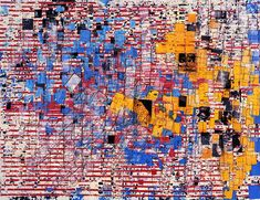 """Mark Bradford is known for his grid-like abstract paintings combining collage with paints.Bradford's """"A Truly Rich Man is One Whose Children Run into His"""