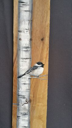 "42"" TALL Reclaimed Wood Pallet Art, Hand painted White Birch with Chickadee bird, Cottage, Tall, upcycled, Wall art, Distressed, Shabby Chic"