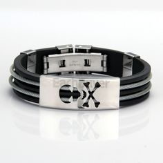 Stainless Steel Bangle Bracelet Black Ghost Silicone Band Men