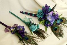 weddings with peacock feathers | peacock feather bouquets turquoise peacock wedding flowers peacock ...
