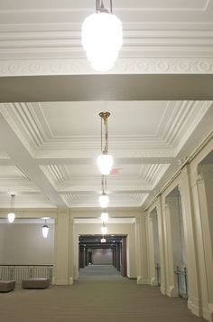 Reconstructed lights to pay homage to the days of the Automotive Building. Intricate architectural details are easy to spot at Allstream Centre Site Visit, Second Floor, Architecture Details, Track Lighting, Centre, Art Deco, Ceiling Lights, Building, Home Decor