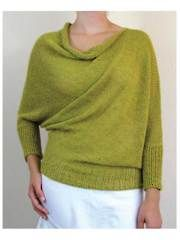 """Belle Knit Pattern. a rectangle with waist and neck openings on the opposite sides, which cause the garment to bias when worn. Knit with 600 (750, 980, 1230, 1480, 1500)yds of DK-weight yarn at a gauge of 16 sts per 4"""", using U.S. size 9/5.5mm 36"""" circular needles. Approximate finished measurements: circumference: 56 (62, 68, 74, 80, 86)""""; bust: 32-35 (36-39, 40-43, 44-47, 48-51, 52-56)""""; length at shortest point: 24 (26, 28, 30, 32, 34)"""". Includes sizes S (M, L, XL, 2XL, 3XL)."""