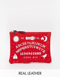 Falconwright Leather Clutch with Witchboard Print