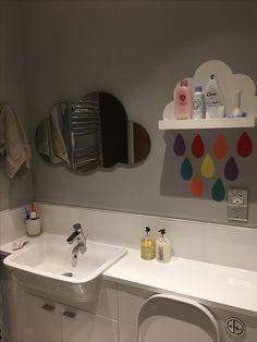 Laura Ashley cloud mirror. Children's bathroom. Cloud bathroom. Dulux chic shadow. Rain drop shelf