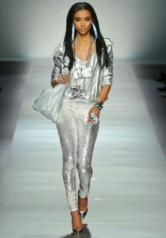 Blumarine #silver #metallic #sequins #fashion