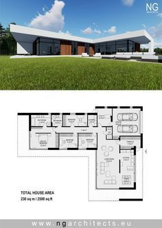 Modern villa Laguna designed by NG architects www. Contemporary House Plans, Modern House Plans, Small House Plans, House Floor Plans, L Shaped House Plans, Modern Floor Plans, Luxury Homes Exterior, Modern Villa Design, Luxury House Plans