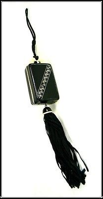 ANTIQUE FRENCH CELLULOID DANCE PURSE COMPACT BLACK RIBBON & TASSEL STUNNING 1920