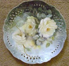 Hand Painted White Roses on plate