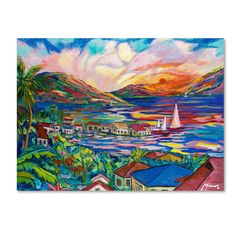 """Trademark Art """"Sunset"""" by Manor Shadian Painting Print on Canvas & Reviews   Wayfair"""