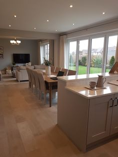 Looks stylish when It's tidy. This stunning example from a Redrow showhome 😁 Kitchen Family Rooms, Kitchen Room Design, Living Room Kitchen, Kitchen Layout, Home Decor Kitchen, Country Kitchen, Open Plan Kitchen Dining Living, Open Plan Kitchen Diner, Open Plan Living