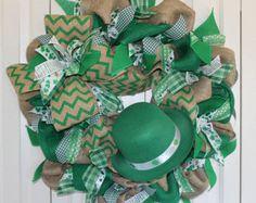 St Patricks Day Wreath Deco Mesh Wreath Leprechaun Wreath