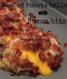 Loaded mashed potato balls with bacon http://centslessdeals.com/2013/05/loaded-mashed-potato-balls-with-bacon-bits-recipe.html/