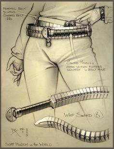 Scott Pilgrim, Whip Sword, Character Inspiration, Character Art, Character Concept, Armas Ninja, Weapon Concept Art, Knives And Swords, Swords And Daggers