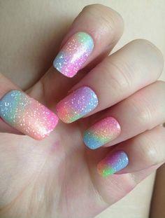 Glittery Vibrant Rainbow Watercolor
