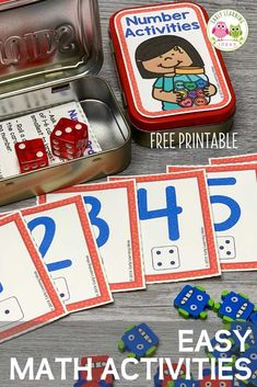 Add these free printable number cards, counters, & dice to an empty mint tin to create fun math activities for your classroom, at home, or on the go. Preschool Activities At Home, Early Learning Activities, Counting Activities, Free Preschool, Learning Games, Literacy Activities, Printable Puzzles For Kids, Free Printable, Head Start Classroom
