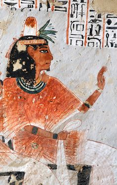 "[EGYPT 29368]<br /> 'Portrait of Roy in his tomb at Luxor.'<br /> <br /> 	A mural detail in the tomb of Roy shows him seated in a black chair. His wig is topped by a perfume cone and a lotus flower.<br /> Roy was an 18th dynasty royal scribe during the reign of Horemheb. His tomb (TT 255) can be found in the Necropolis of Dra Abu el-Naga on the Westbank at Luxor. It is one of the socalled ""Tombs of the Nobles"". Photo Mick Palarczyk and Paul Smit."