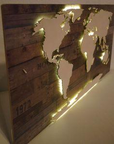 Beleuchtete+Weltkarte+aus+Holz+&+Maß+(Vintage+LED)+von+merk!echt+auf+DaWanda.co... - Diy Wohnzimmer