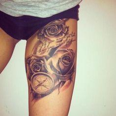 flower leg tattoo - Google Search