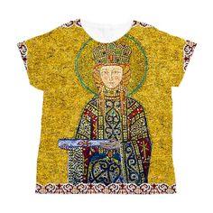 실제로 판매중인 티셔츠 비잔틴 제국 시대의 복식이 드러난 모자이크 벽화가 프린팅되어있다. 가격은 5~6만원 정도