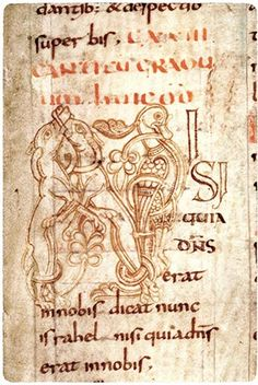 zoomorphic initial from the corbie psalter corbie france early 9th century bibliothques d