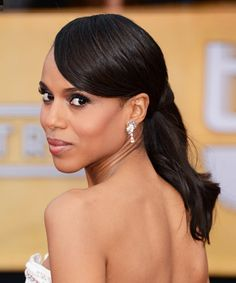 """No. 11: Kerry Washington  It would be scandalous to leave Kerry Washington off our list. Both she and her """"Scandal"""" character Olivia Pope can pull off a ponytail that's equal parts business and glamour."""