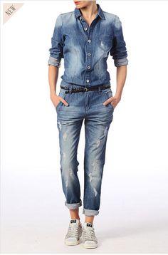 Combinaison pantalon en jean usé Riri Only Bleu / Marine prix promo Monshowroom 69.00 € TTC