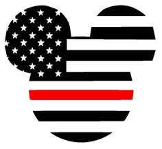 Mickey Mouse Thin Red Line American Flag Vinyl Decal | Disney | Firefighter Support | Yeti Cup Decal