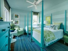 Interior designer Linda Woodrum's ode to sea glass, the twin suite bedroom celebrates the home's coastal location. Design from the 2013 HGTV Dream Home.