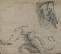 Raphael (Raffaello Sanzio), 1483-1520, Italian, Study for a Nude Soldier in a Resurrection, c.1510-1514.  Black chalk (charcoal?) on yellowish paper, stylus lines and pointing; 29.3 x 32.7 cm.  The British Museum, London.  High Renaissance.